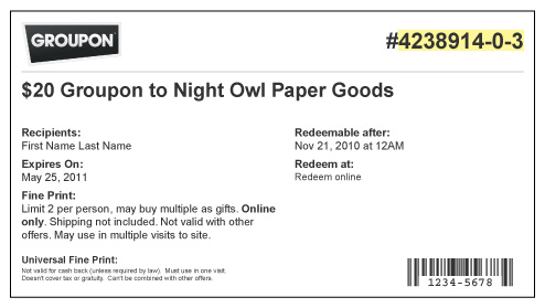 How do I redeem my Groupon? ‹ Ordering from Night Owl Paper