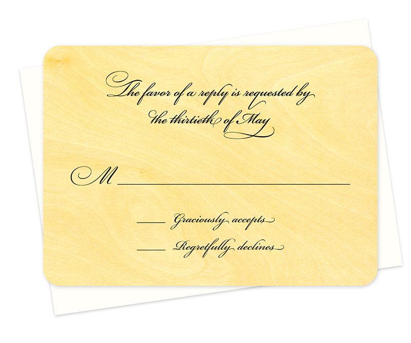 elegant script reply card raven