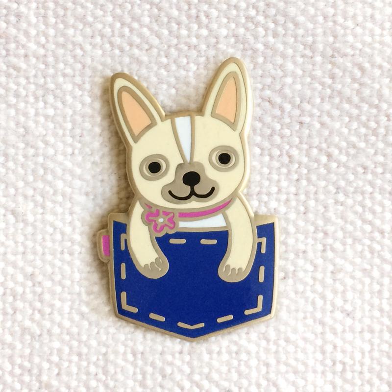 Pocket Frenchie Enamel Pins Gifts 171 Night Owl Paper