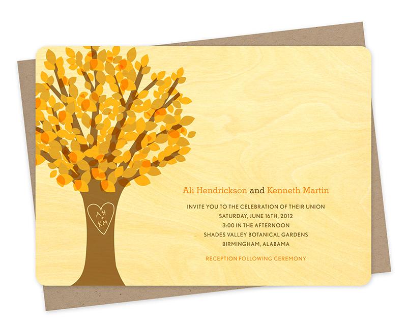 leafy tree invitation  u2039 wedding  u00ab night owl paper goods