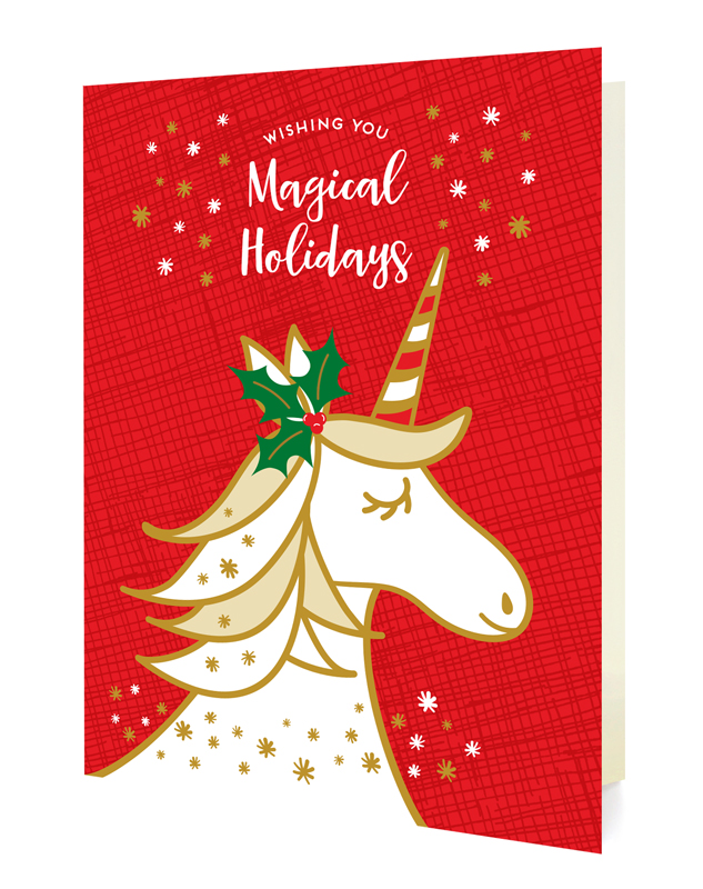 magical unicorn red holiday cards  enamel pin set ‹ cards