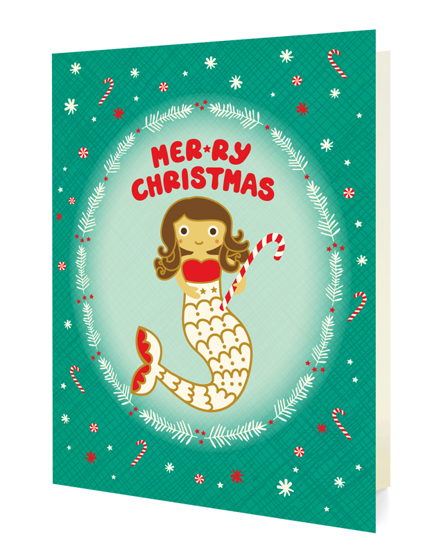 Mermaid Christmas Holiday Cards & Enamel Pin Set