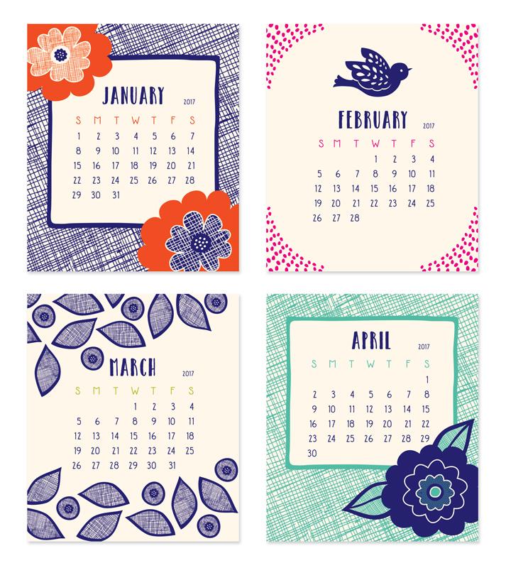 Calendar January April : Flora fauna desk calendar « night owl paper goods