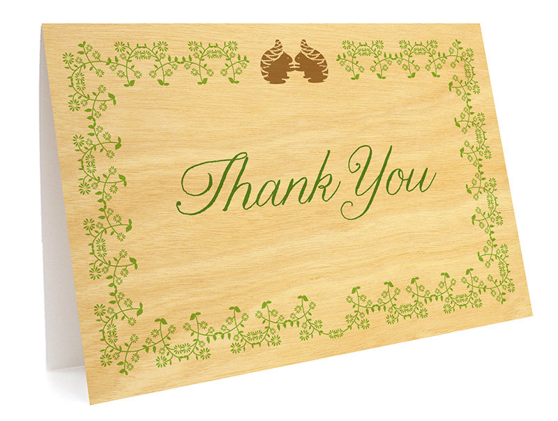 squirrel vows folded thank you card wedding night owl paper