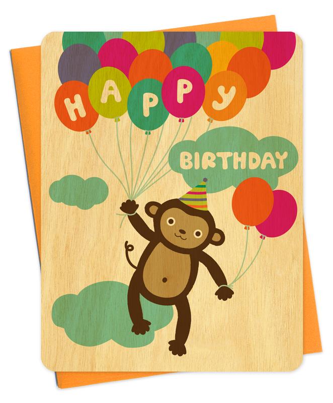 Birthday Monkey Cards AEUR WOOD Night