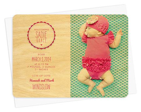 Heart Button Girl Baby Announcement