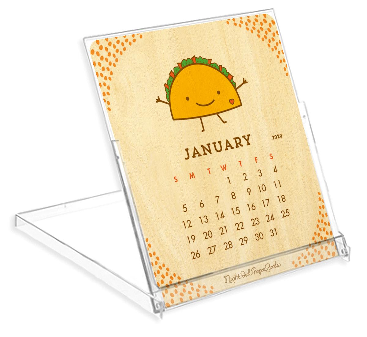 12-month wood desk calendar #food