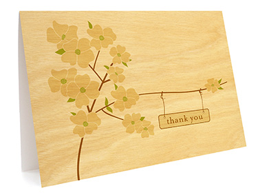 Flowering Dogwood Folded Paper Thank You Card