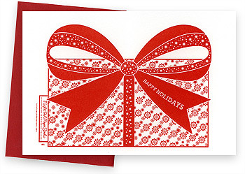 Letterpress cards and stationery | Holiday | Ruby Bow | Night Owl Paper Goods
