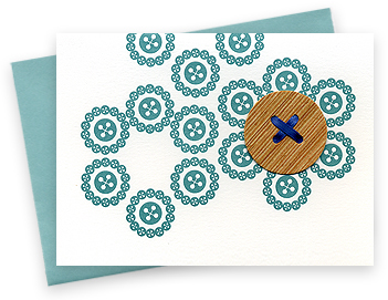 button circles ocean blank single letterpressed card with wooden button ribbon pool blue envelope printed on archival white cover stock packaged in a clear envelope 4Bar 3 1 2 x 4 7 8 no from nightowlpapergoods.com