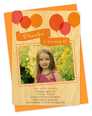 big balloons apricot party invitation
